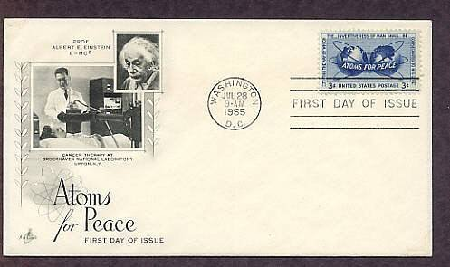 Atoms for Peace, Albert Einstein, Cancer Therapy, 1955 First Issue USA