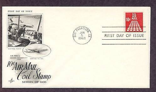 50 Star Runway, U.S. Air Mail, Control Tower, 1968 First Issue USA