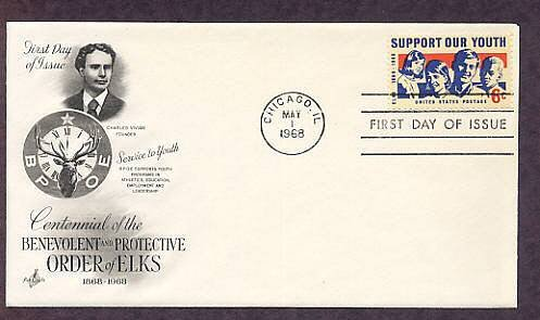 Honoring Elks, 100th Anniversary, BPOE, First Issue AC 1968 USA