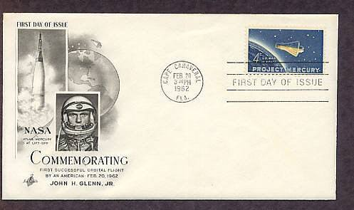 Project Mercury, Space Capsule Orbiting Earth, John Glenn, Cape Canaveral, AC First Issue USA