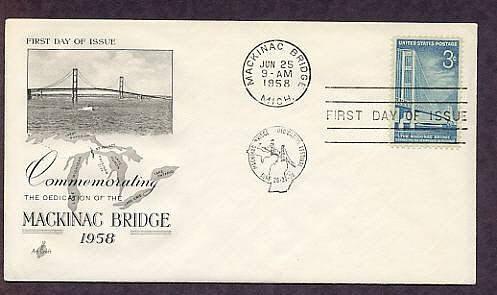 Dedication Mackinac Bridge, Michigan, Great Lakes, 1958 AC First Issue USA