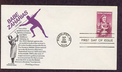 Babe Zaharias, Golf Legend, Woman Olympic Athlete, Aristocrat, First Issue USA