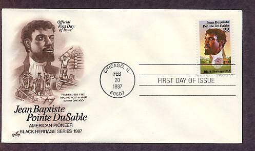 Famous Black American Heritage Stamp, Jean Baptiste Pointe DuSable, AC Chicago First Issue
