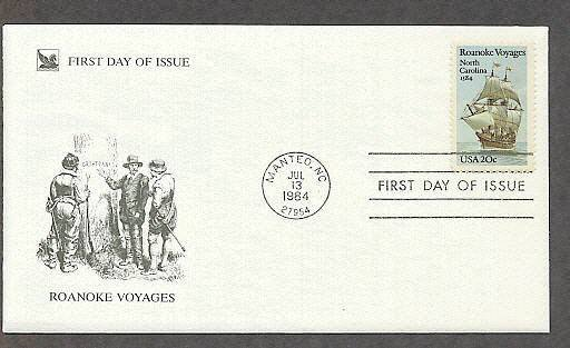 New World Roanoke Voyages, Sailing Ship, RD First Issue FDC USA