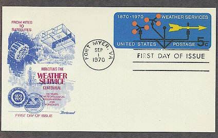 Weather Services, Meteorology, Satellite, 100th Anniversary, FW First Issue USA