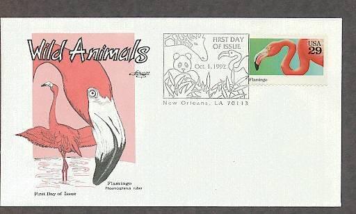 Wild Animals, Flamingo, Phoenicopterus ruber, First Issue USA