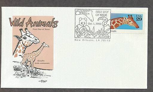Wild Animals, Giraffe, Giraffa camelopardalis, First Issue USA