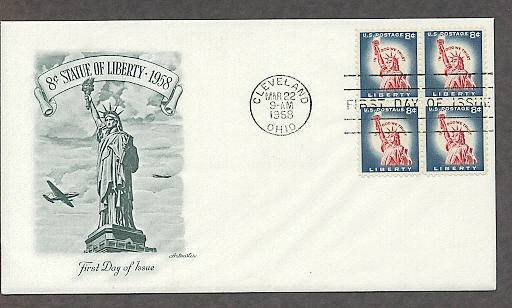 Statue of Liberty on Liberty Island, New York, National Monument, First Issue 1958 USA
