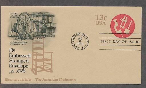 USPS Honoring American Craftsman, Bicentennial, Tools, Shaker Rocking Chair, First Issue USA