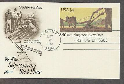 John Deere Self-scouring Steel Plow, Postal Card First Issue USA