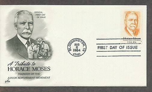Honoring Horace Moses, Founder of  Junior Achievement, AC First Issue FDC USA