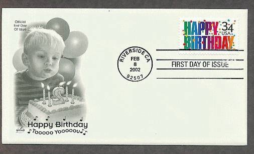 United States Happy Birthday Postage Stamp, AC First Issue USA