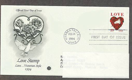 1994 USPS Love Stamp, Flowers and Doves, Birds, Niagara Falls, PCS, Addressed, First Issue USA