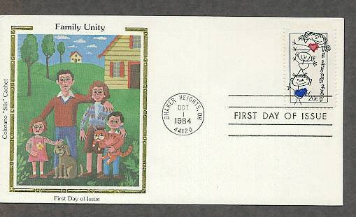 Family Unity, Stick Figure Family, Colorano Silk, First Issue FDC USA