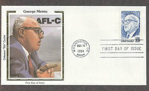 Honoring American Labor Leader George Meany, AFL-CIO, CS, First Issue FDC