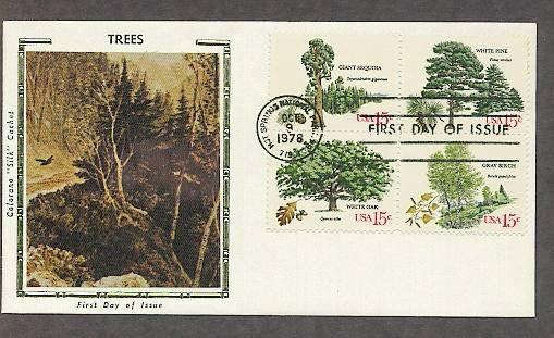 Trees, White Pine, Giant Sequoia, Gray Birch, Oak, CS First Issue USA