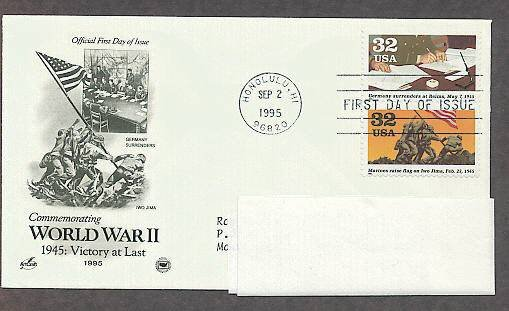World War II 1945 Victory at Last, Germany Surrenders, Iwo Jima Marines, PCS, Addressed, FDC