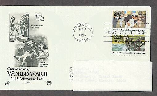 World War II 1945 Victory at Last, Japan's Surrender Hits Home, U.S. and Soviets Together, PCS, FDC