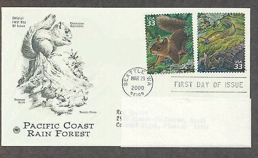 Pacific Coast Rain Forest, Douglas Squirrel, Banana Slug, PCS, Addressed, First Issue USA