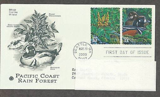 Pacific Coast Rain Forest, Dwarf Oregongrape, Harlequin Duck, PCS, Addressed, First Issue USA