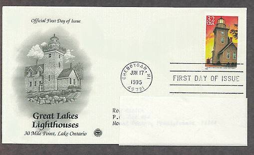 Great Lakes Lighthouses, 30 Mile Point, Lake Ontario, Michigan, PCS First Issue USA