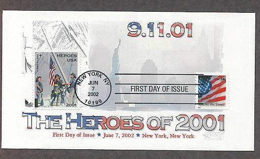 9 11 New York City Firefighters, 9/11/01 Heroes, World Trade Center, Flag, First Issue USA