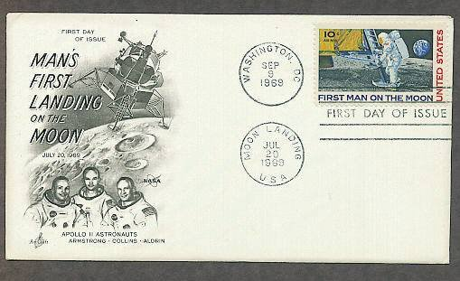 Apollo 11 Space Astronauts, First Man on Moon, NASA 1969 AC First Issue USA