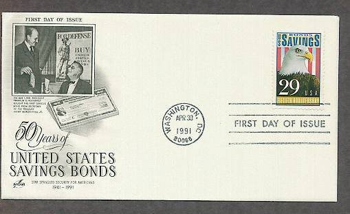 50th Anniversary of U.S. Savings Bonds, Bald Eagle, FDR, First Issue USA