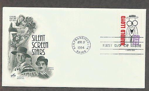 Silent Screen Stars, Harold Lloyd, Al Hirschfeld, First Day of Issue USA