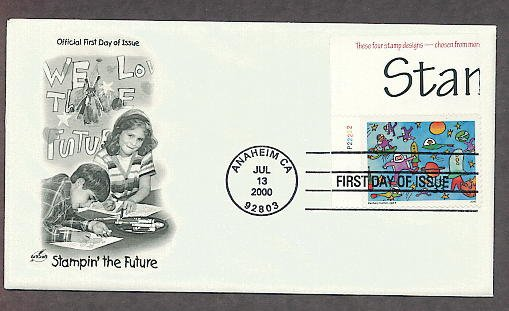 Future Stamp Designs by Children, Stampin' the Future, Astronauts, First Issue USA