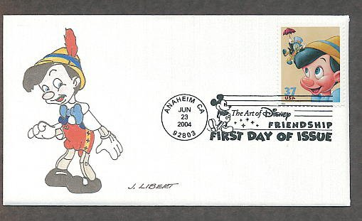 Walt Disney Animation Cartoon Characters Art, Pinocchio, First Issue FDC USA