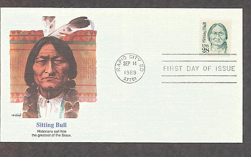 Sioux Chief Sitting Bull Native American Indian, FW, First Issue FDC USA