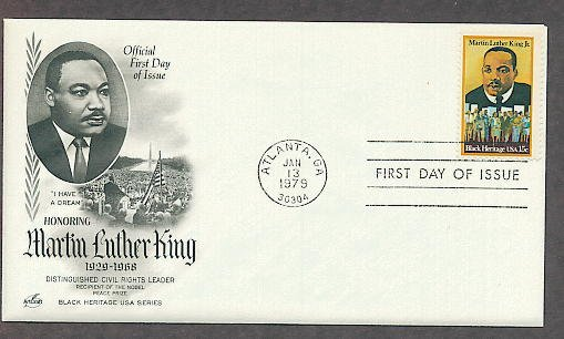 Dr. Martin Luther King Jr, Civil Rights, Black History, African American, First Issue FDC USA