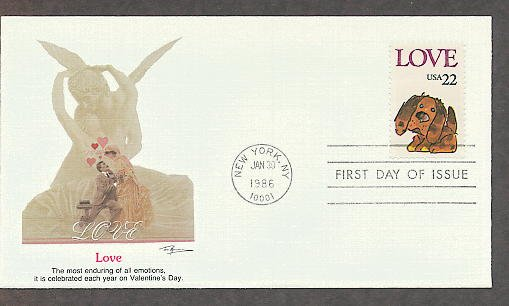 Love Postage Stamp, Puppy, First Issue FW 1986 USPS USA