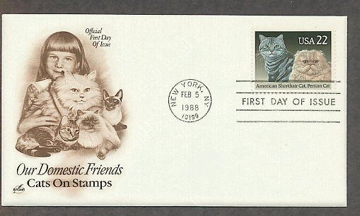 Cats, American Shorthair, Persian, Cat Breeds AC First Issue USA
