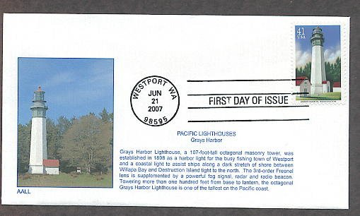 Pacific Lighthouses, Grays Harbor, Washington, First Issue USA
