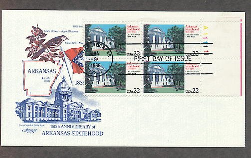 Arkansas Statehood, 150th Anniversary, Plate Block, First Issue FDC USA
