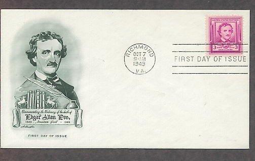 Edgar Allen Poe, Poet, 100th Anniversary, 1949 AM First Issue USA