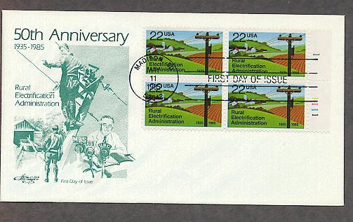 Rural Electrification Administration, REA, Lineman, Plate Block First Issue USA