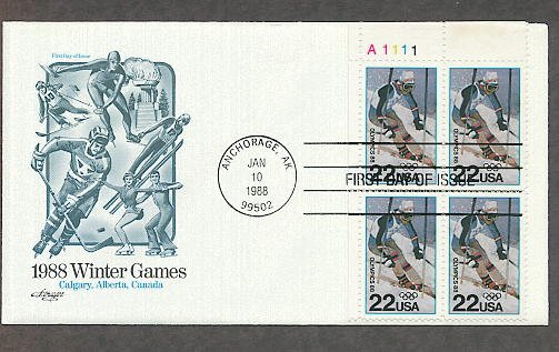 1988 Winter Olympics, Alpine Skier, Plate Block,  AM First Issue USA