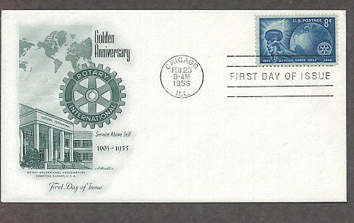 Rotary International Clubs, AM 1955 First Issue, 50th Anniversary USA