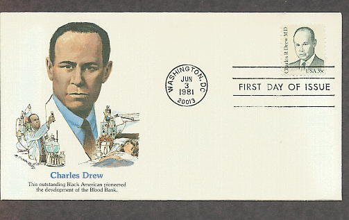 Black Heritage, Honoring Dr. Charles R. Drew, Blood Plasma Expert, First Issue USA