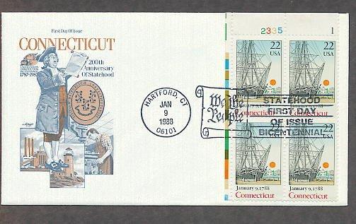 Connecticut Statehood, Seaport, Bicentennial, Plate Block, First Issue USA
