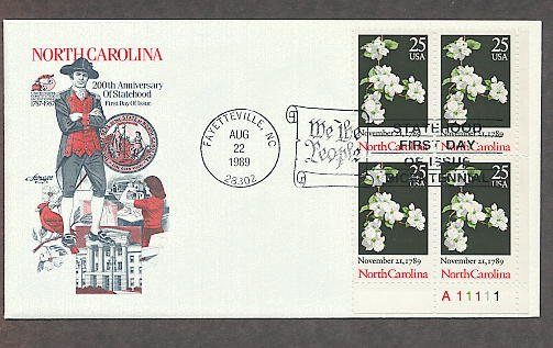 North Carolina Statehood Bicentennial, Plate Block First Issue FDC USA