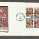 USPS Christmas Stamp, Madonna and Child, 1989, Artist Carracci, Plate Block First Issue USA