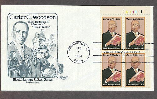 Black History, Carter G. Woodson, Historian, Plate Block First Issue USA
