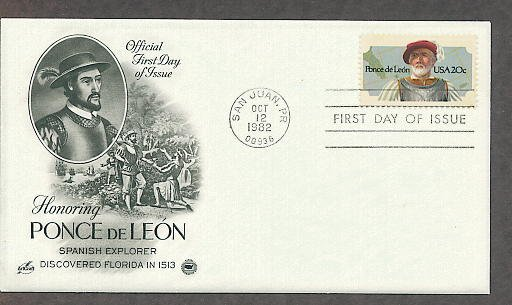 Spanish Conquistador and Florida Explorer Ponce de Leon, PCS First Issue USA!