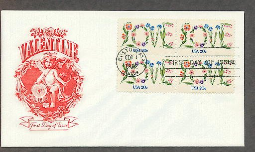 Love in Flowers 1982 Postage Stamp, Be My Valentine Cupid, First Issue USPS USA!