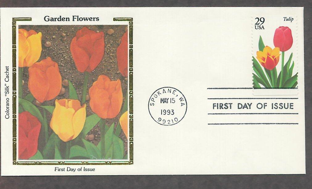 Garden Flowers, Tulip, Colorano Silk, First Issue USA!