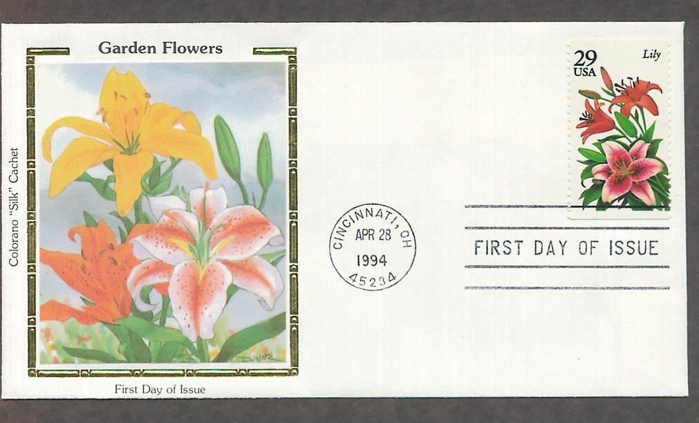 Garden Flowers, Lily, Colorano Silk, First Issue USA!